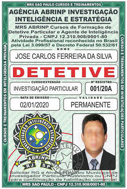 Carteira do Curso de Detetive Particular